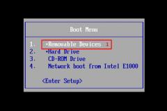 1. Boot menu
